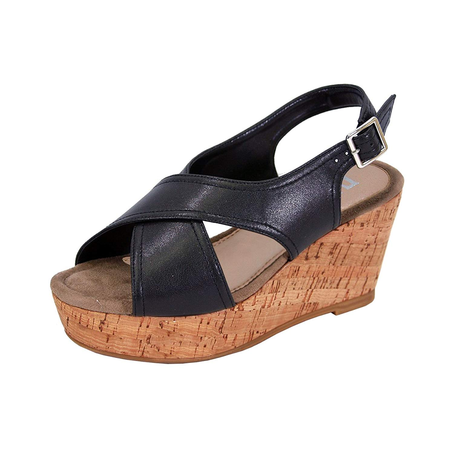676e357c2d4 Get Quotations · Fuzzy Anya Women Wide Width Platform Wedge Slingback  Sandals (Size   Measurements Charts Available)