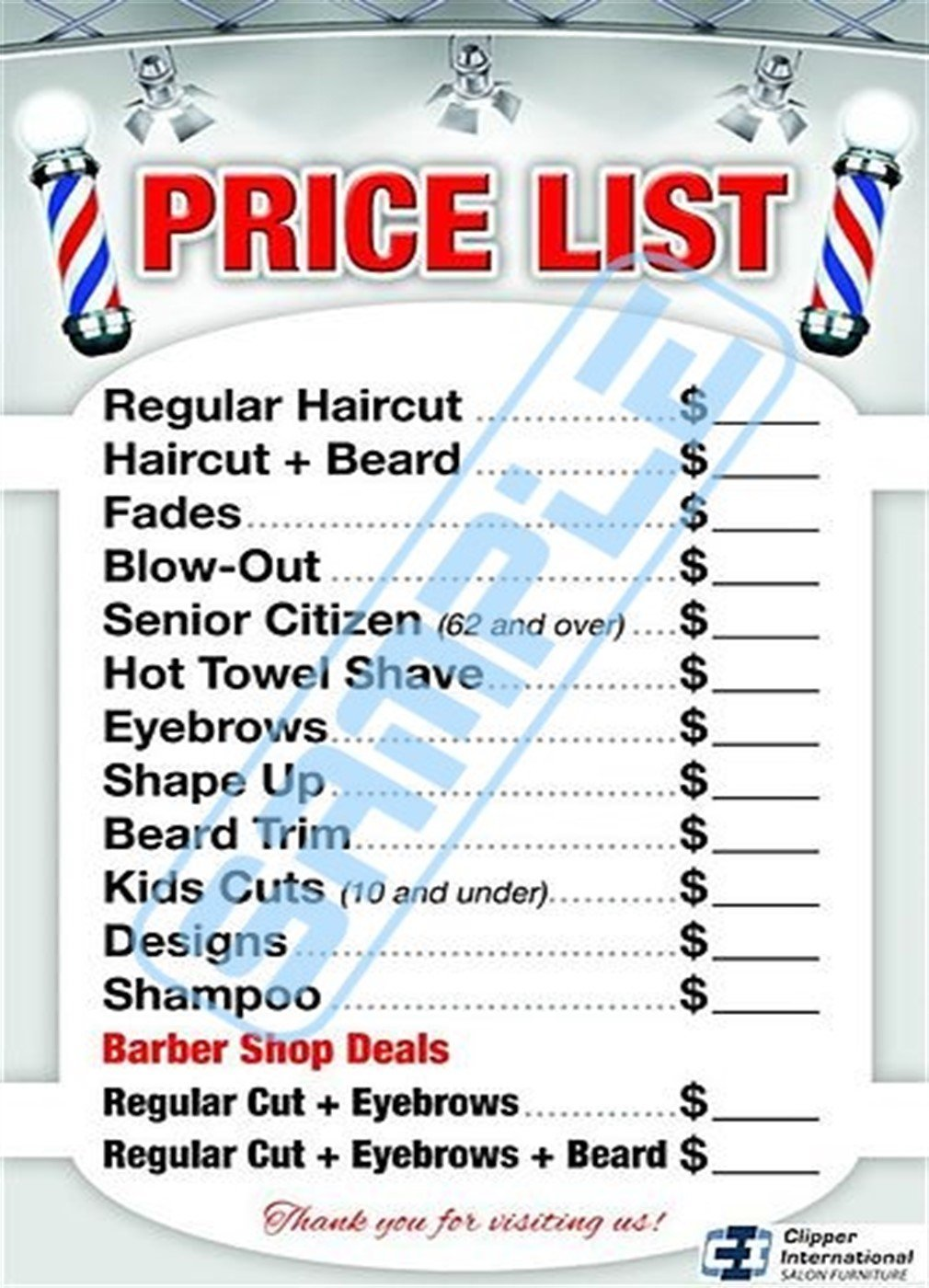 Barber Shop Price List by BARBERWALL - Barber Poster - Barber Shop Poster - 36 x 24 Laminated