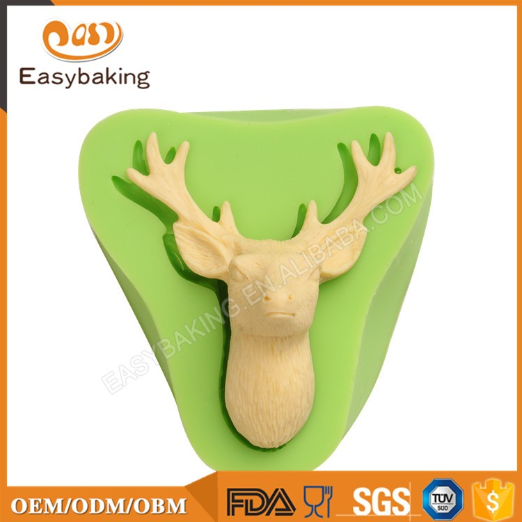 ES-0029 Reindeer Head Silicone Molds Fondant Mould for cake decorating