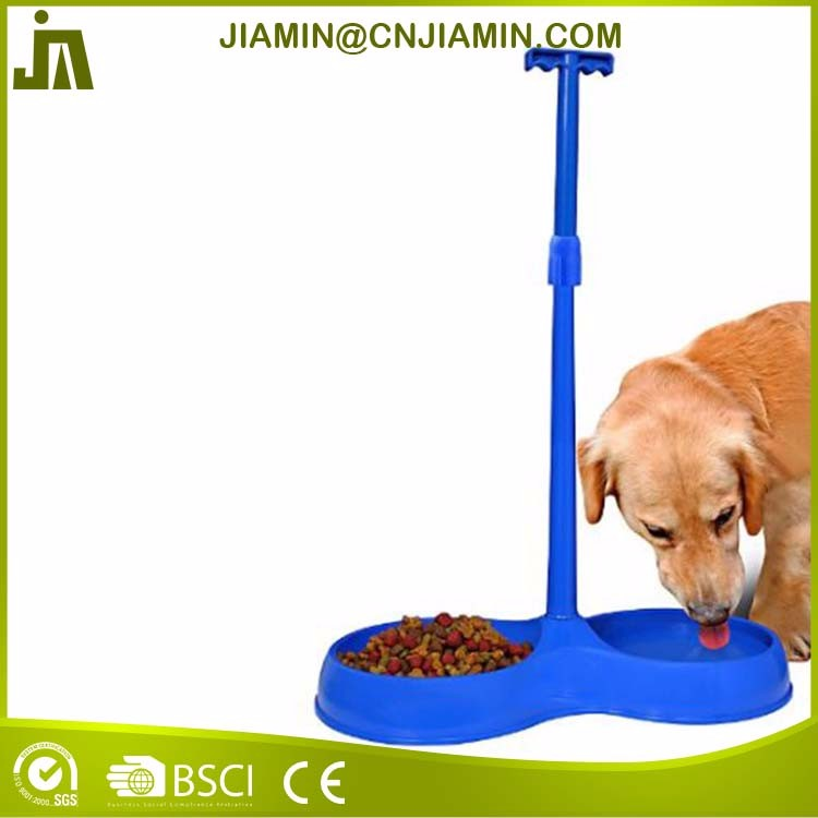 Small no bend blue plastic pet food bowl