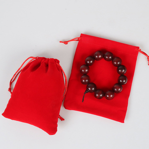 Direct Manufacturer custom velvet fabric drawstring packing bag wholesale red velvet gift bag