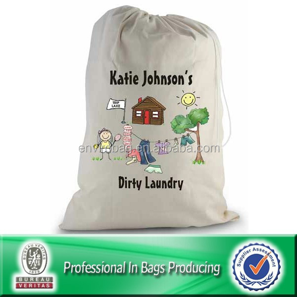 Nice Workmanship drawstring canvas disposable hotel laundry bags