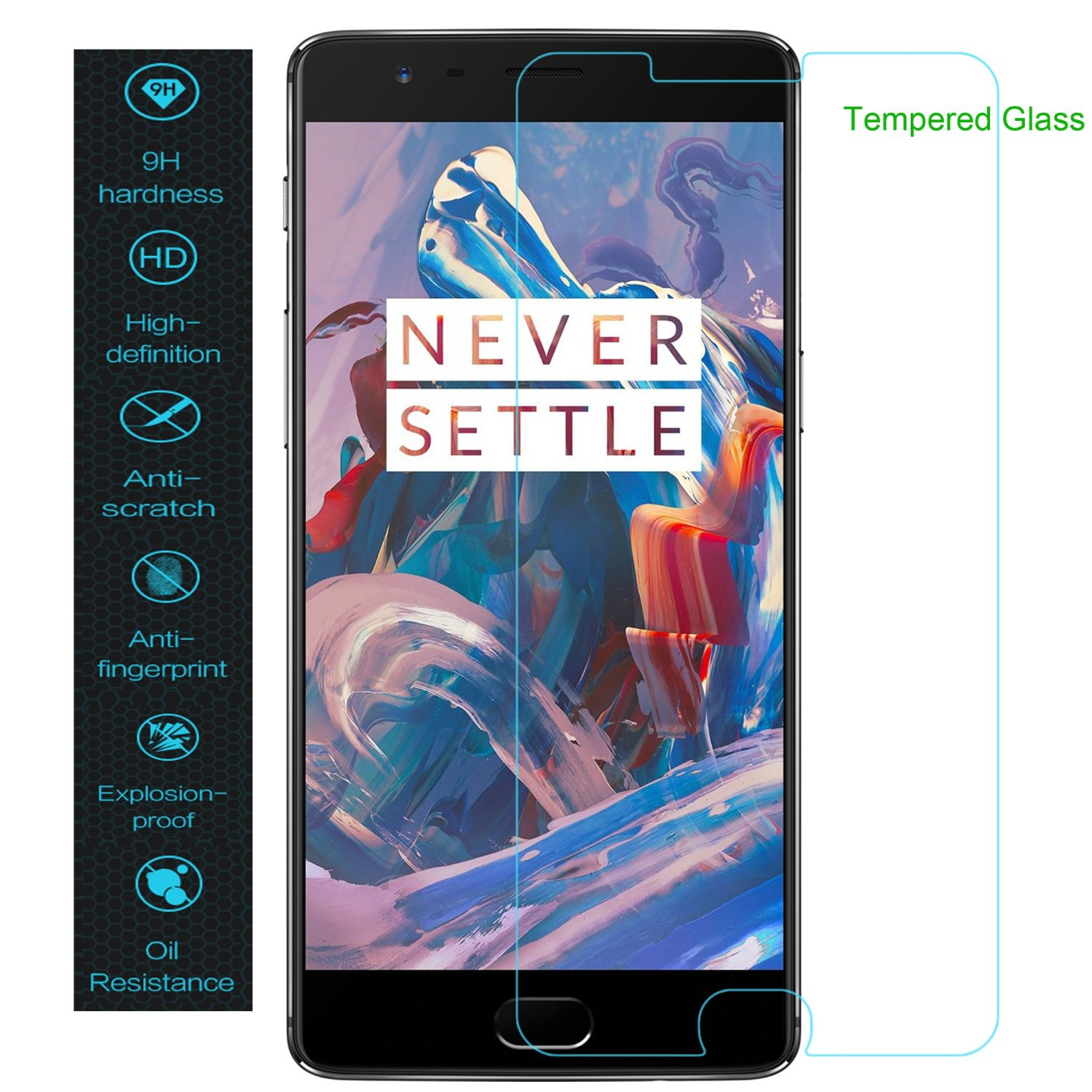 OnePlus 3 / 3T Screen Protector, SANMIN Tempered Glass Anti-fingerprints Crystal Clear 0.33mm Ultra Thin 9H Screen Hardness Screen Protector for OnePlus 3 and OnePlus 3T(2016)