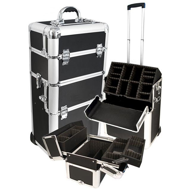 aluminum frame black strap abs trolley case,luggage case bag with EVA inner,expandable trolley case