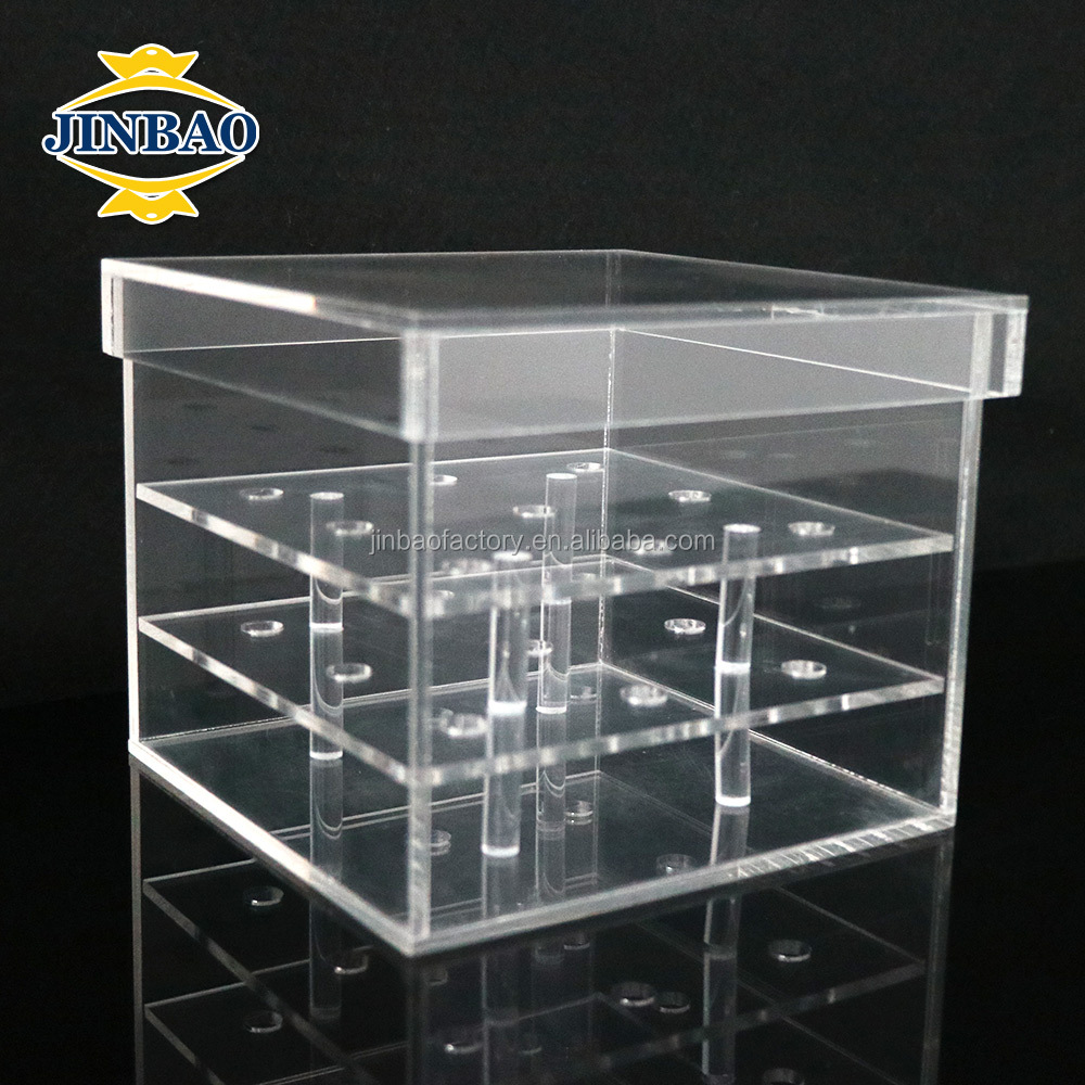 JINBAO <strong>Custom</strong> rose acrylic flower box,cube/round clear acrylic flowers box