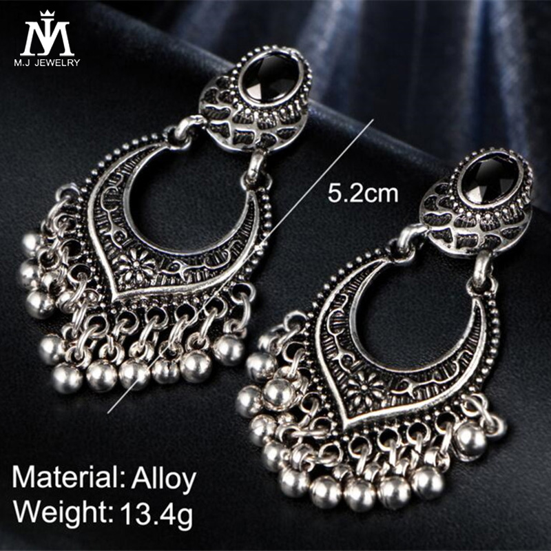 Vintage Antique Tibet Retro Beads Drop Earrings For Women Hollow Ear Brincos Bohemian Earring Pendiente Gift