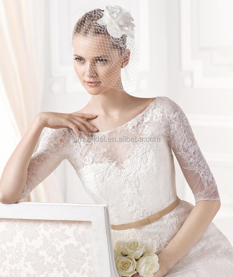 Sd104 Half Sleeve Elegant Lace Bridal Dress Simple Long Sleeve ...
