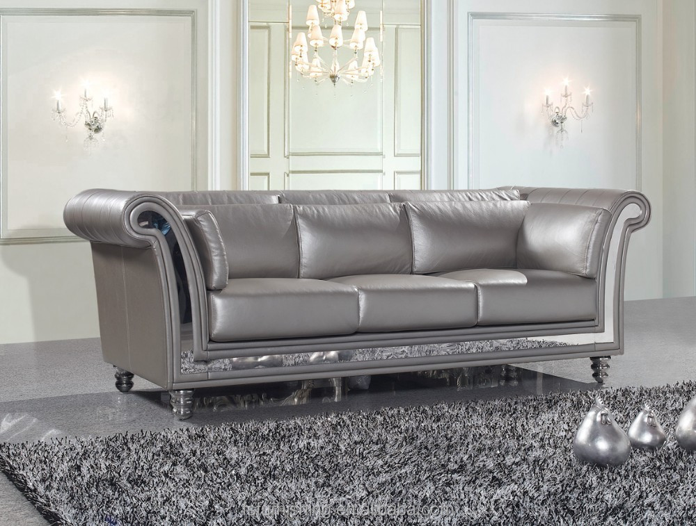 Jr325 Modern Contemporary Silver Grey Color Genuine Thick Leather Stainless Steel Metal Living Room Salon Visiting Sofa Set