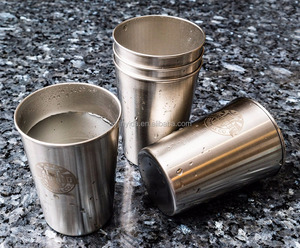 10oz Metal Cups Great For Kids - Stainless Steel Drinking Cups - Premium Stackable Unbreakable Metal Pint Glass Set