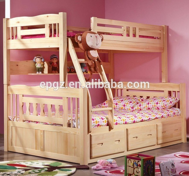 Antique solid wood children bedroom furniture wood double sleigh bed design with box set buy Unfinished childrens bedroom furniture