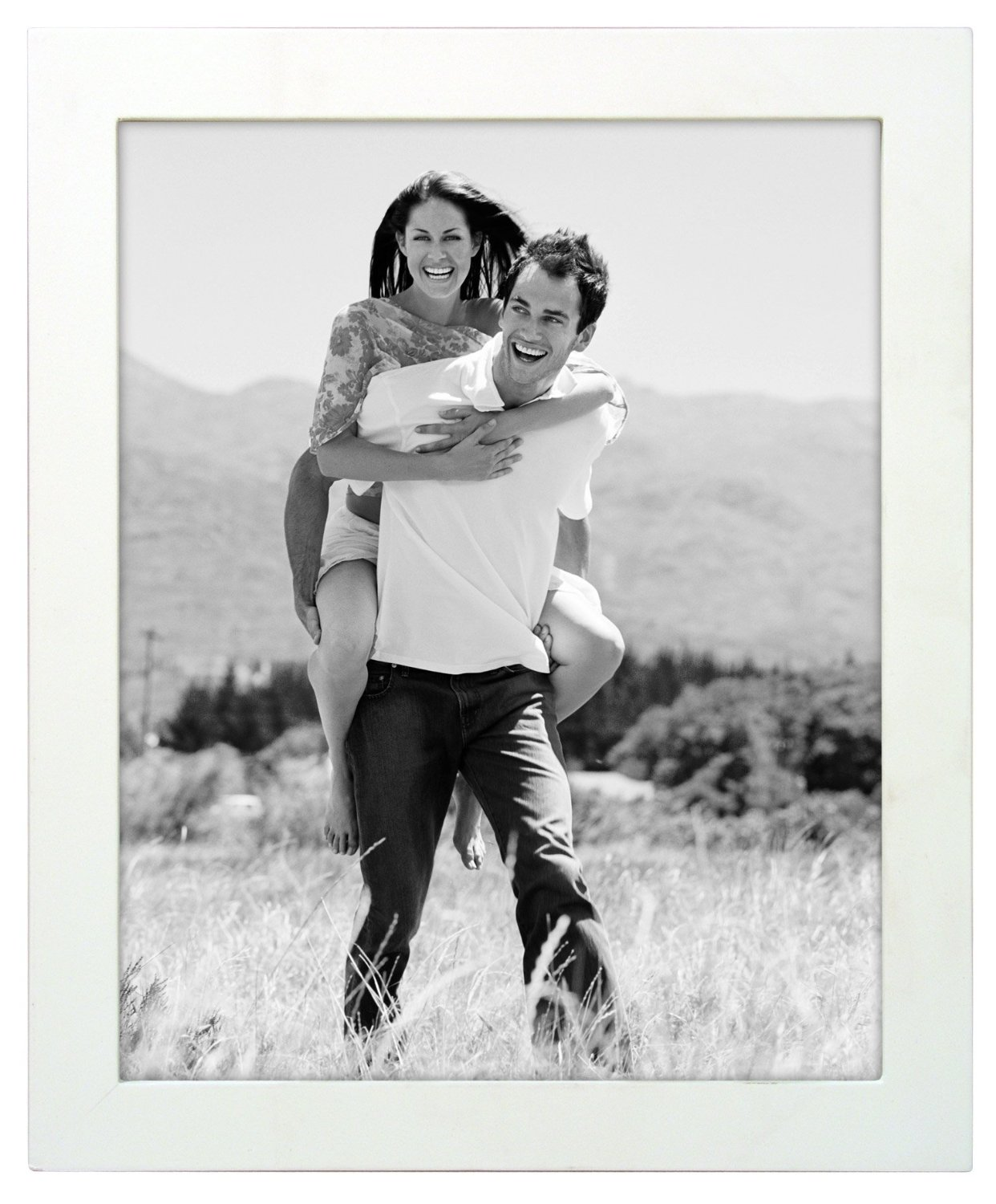 Malden International Designs Linear Classic Wood Picture Frame, Holds 8x10 Picture, White