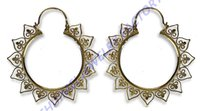 Pair Ornate Hearts Filigree Brass Earrings Gauges Tunnel Plug piercing body jewelry