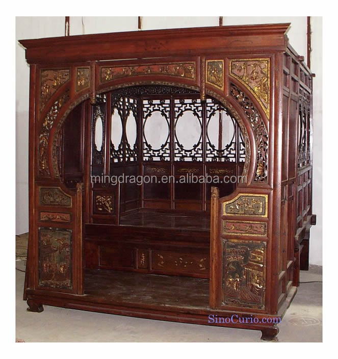 Antique Bed: Chinese Antique Carved Wooded Wedding Roses Bed