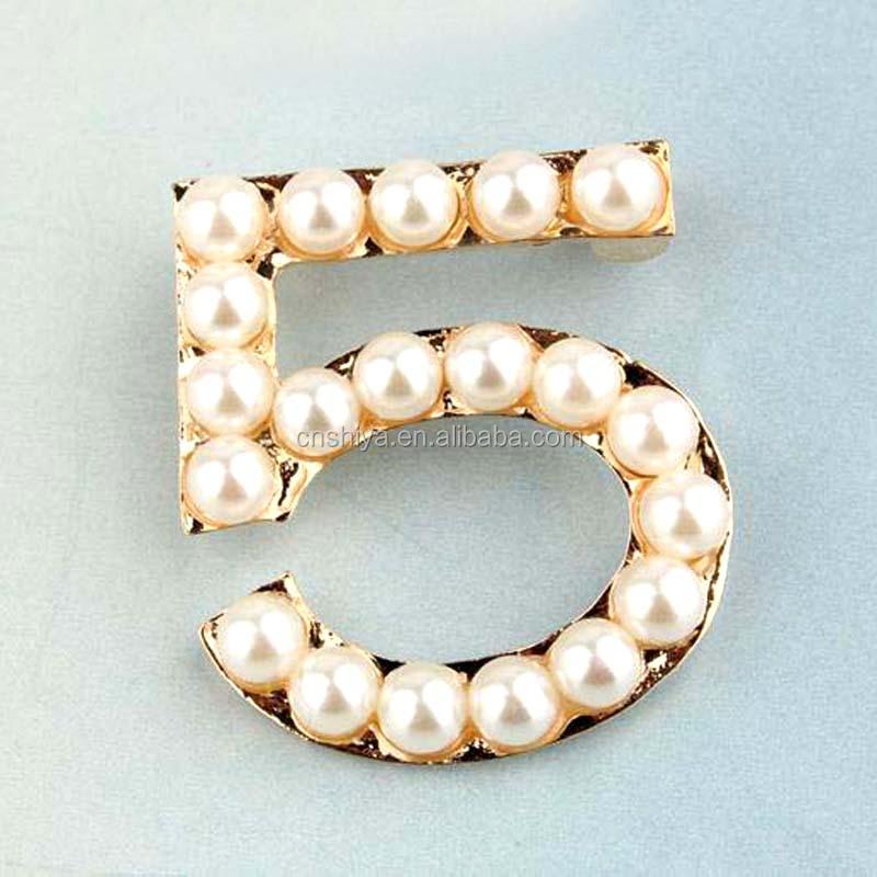Number 5 Pearl Brooch,Zinc Alloy Brooch Pin,Wedding Brooch Men ...