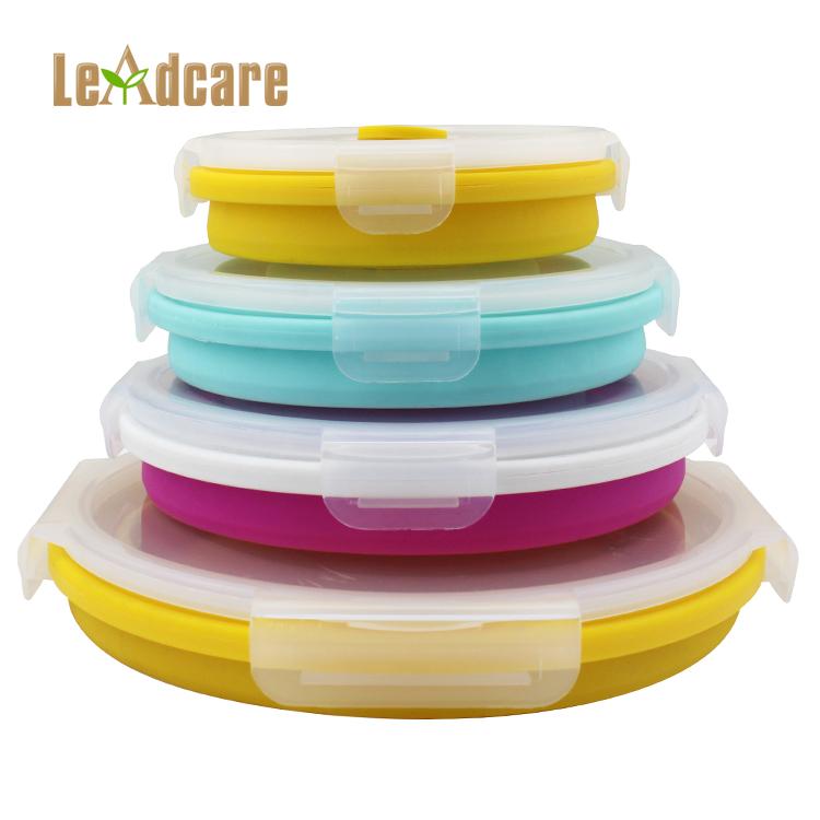 Redondo de silicona plegable microondas almuerzo cajas Bento respetuoso del medio ambiente contenedor de alimentos
