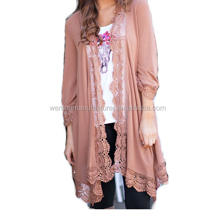 Hot Selling Women Fashion Clothing High Quality Lace Trim Cardigan