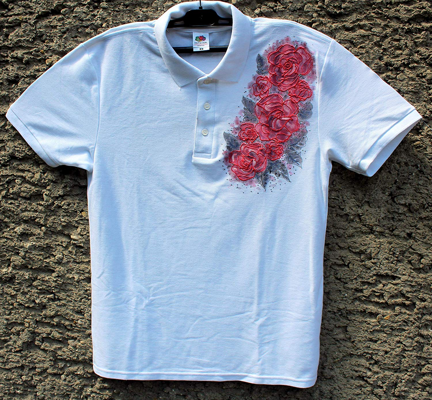 Buy Sale20 Offwhite Polo T Shirt With Red Roseshand Painted