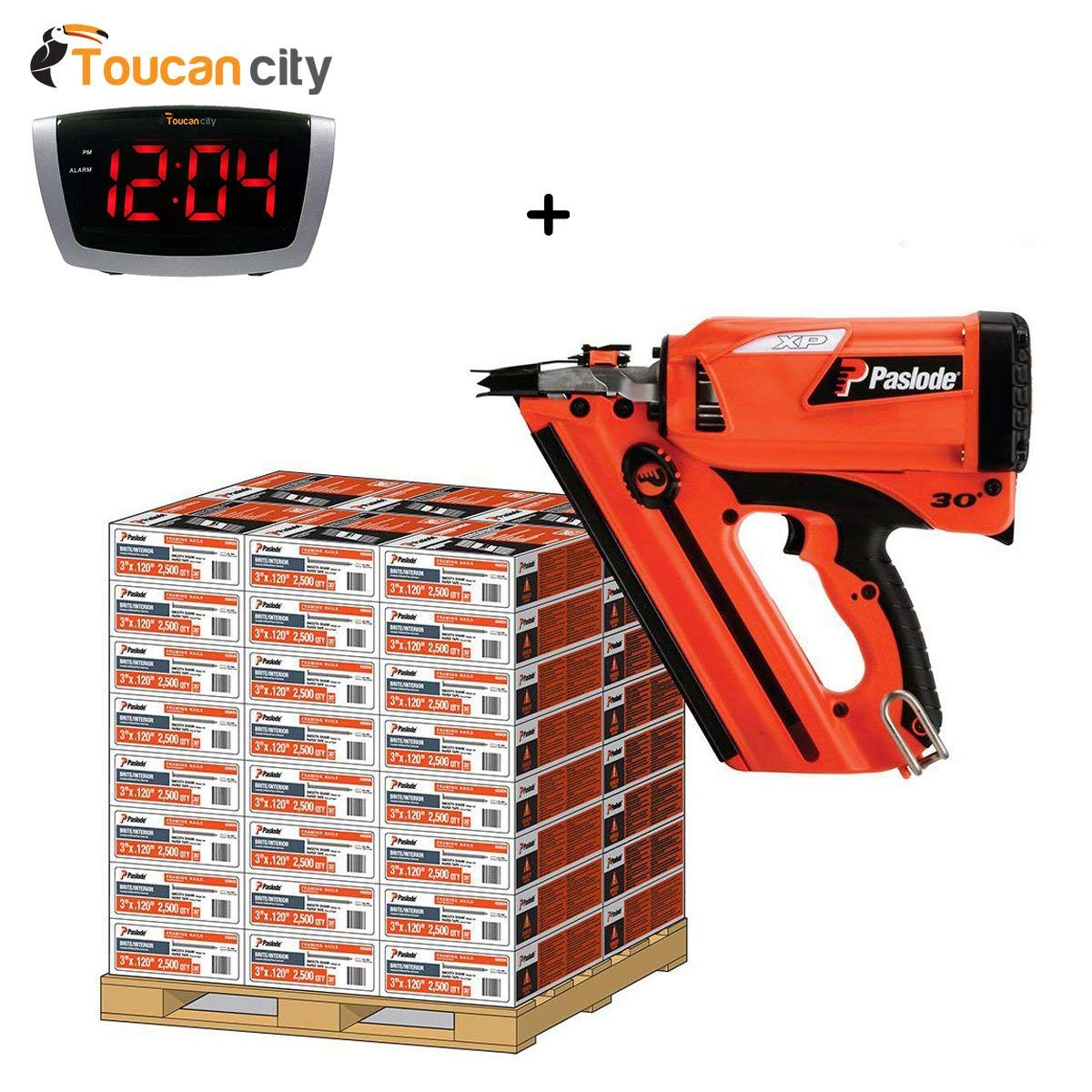 Toucan City LED Alarm clock and Paslode Pallet- 30D 3-1/4 in