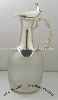 Glass Jug, brass jug, silver plated jug