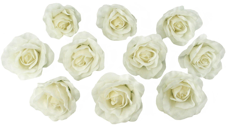 Cheap bulk silk flower heads find bulk silk flower heads deals on get quotations 10 ivory rose heads silk flower weddingreception table decorations bulk silk flowers izmirmasajfo Images