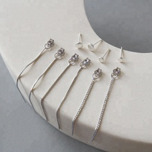New Simple 펑크 Geometric 925 Sterling Silver <span class=keywords><strong>체인</strong></span> 술 <span class=keywords><strong>귀</strong></span> 보석 Drop Earrings Vintage 긴 Chain Earring