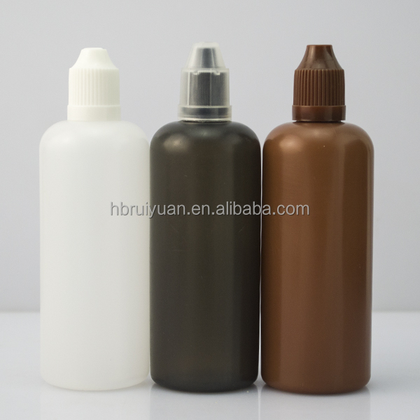 100ml 200ml PE plastic bottle for e liquid with childproof and tamper evident cap