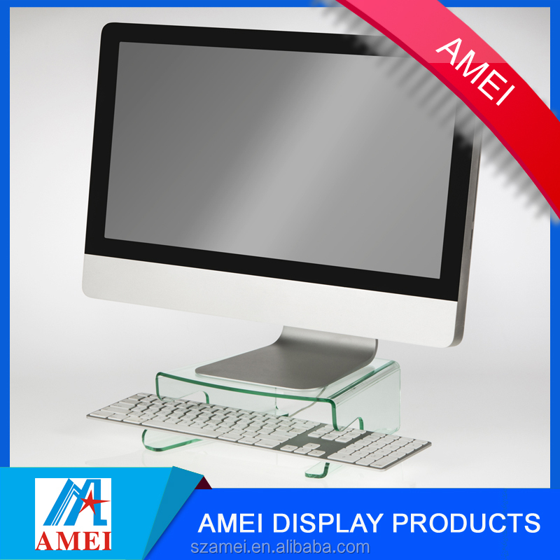 hot sale clear acrylic computer monitor stand with keyboard holder