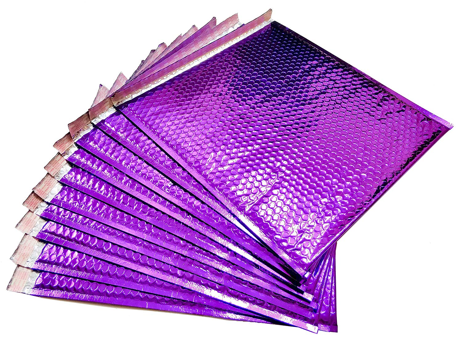 10 Pack Metallic Bubble mailers 7.5 x 11. Purple padded envelopes 7 1/2 x 11. Glamour bubble mailers Peel and Seal. Padded mailing envelopes for shipping, packing, packaging.