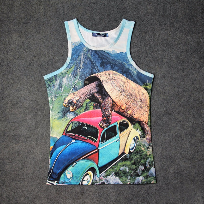 c397a0be7cab9 2019 Wholesale Huge Turtle After Beetle 3D Graphics Print Tank Tops ...