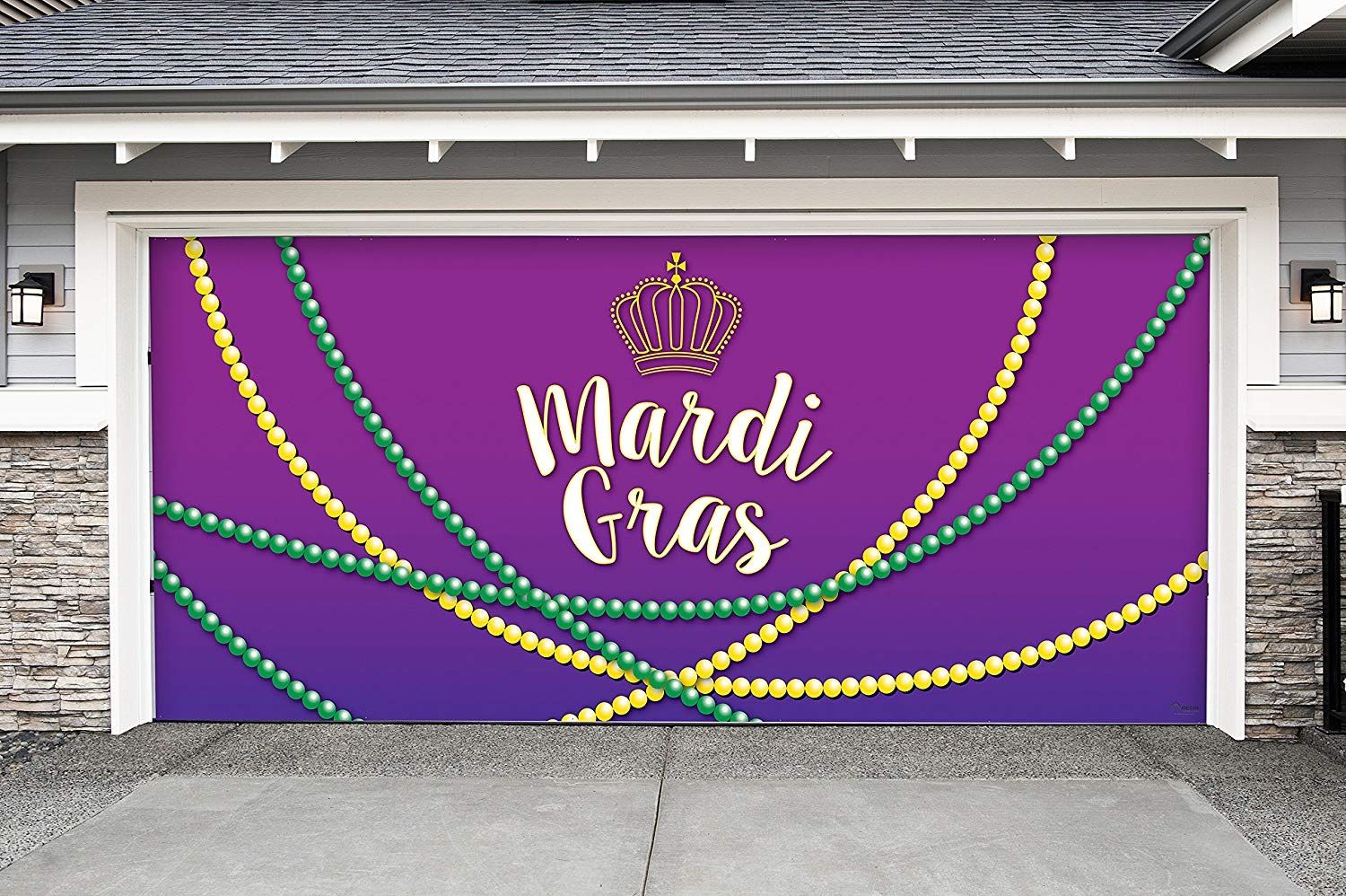 Victory Corps Outdoor Mardi Gras Decorations Garage Door Banner Cover Mural Décoration 7'x16' - Mardi Gras Beads - The Original Mardi Gras Supplies Holiday Garage Door Banner Decor