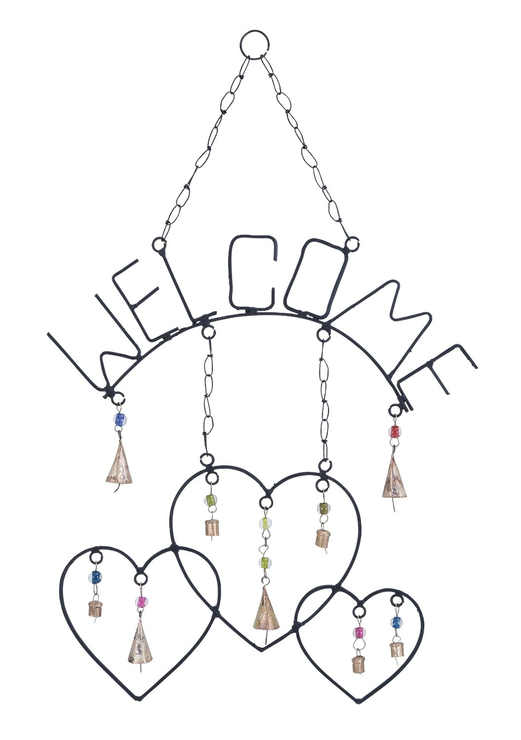 Harvey & Haley Welcome Wind Chime with Metal Design