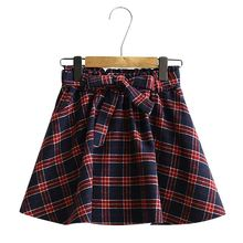 2018 young girl stylish plaid bandage micro mini skirt for summer