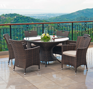 Special outside round dining table and 4 chairs set outdoor wicker garden furniture luxury