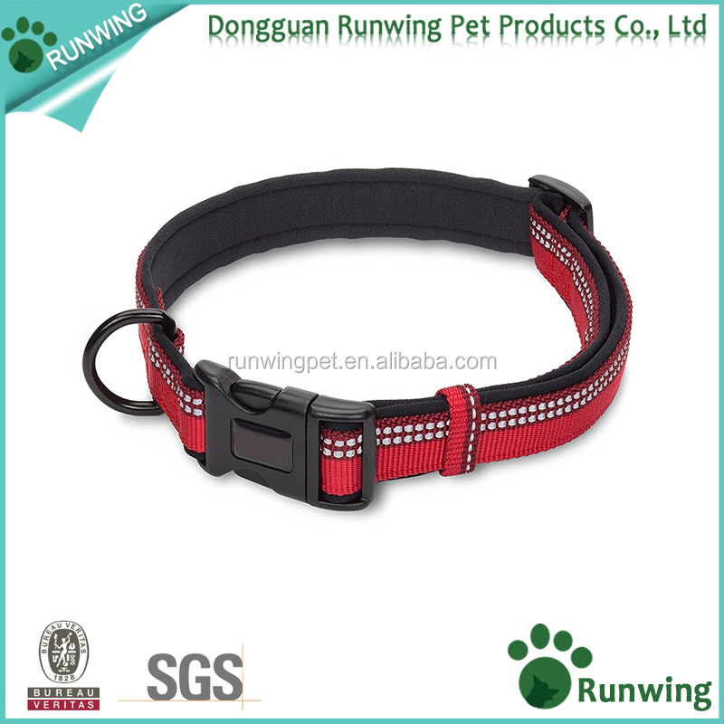 soft neoprene padding Premium Dog Collar with 3M reflective weave