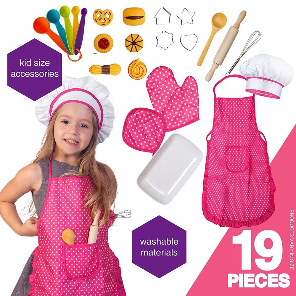 Crianças conjunto de cozinhar e assar, 19 pcs caçoa o cozinheiro chefe set para o jogo de papel