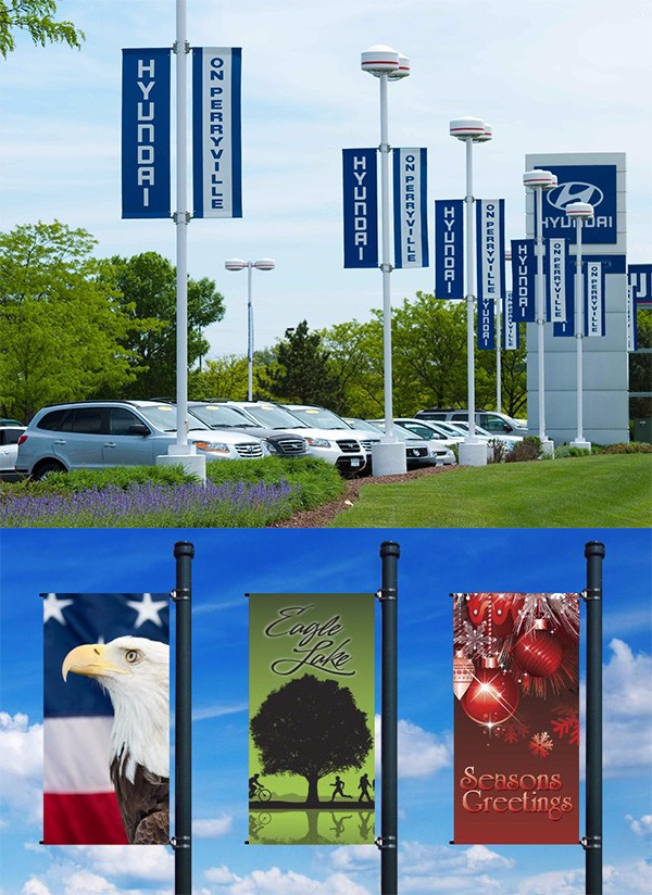 Outdoor advertising building large format print backdrop banner