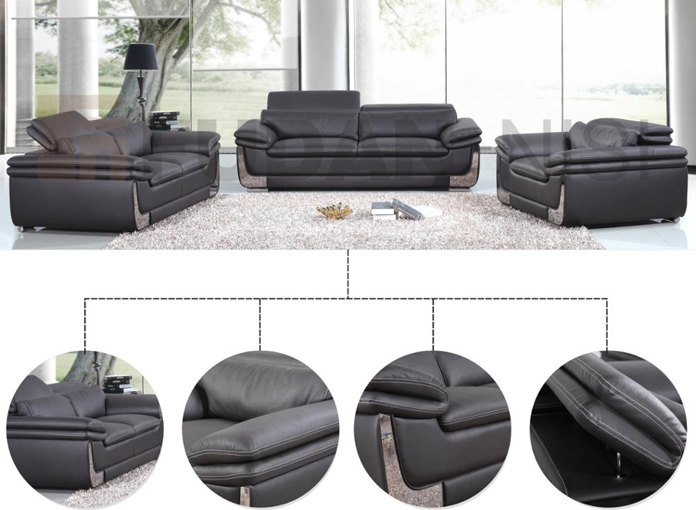 Comfy living room furniture black leather sofa set with metal legs, View  black leather sofa, FUDAN-NISI Product Details from Foshan Shunde Fuyimei  ...