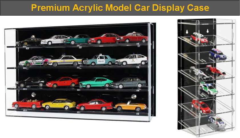 Acrylic Model Wall Display Case for 1:43 Scale Model Cars 4 Shelves