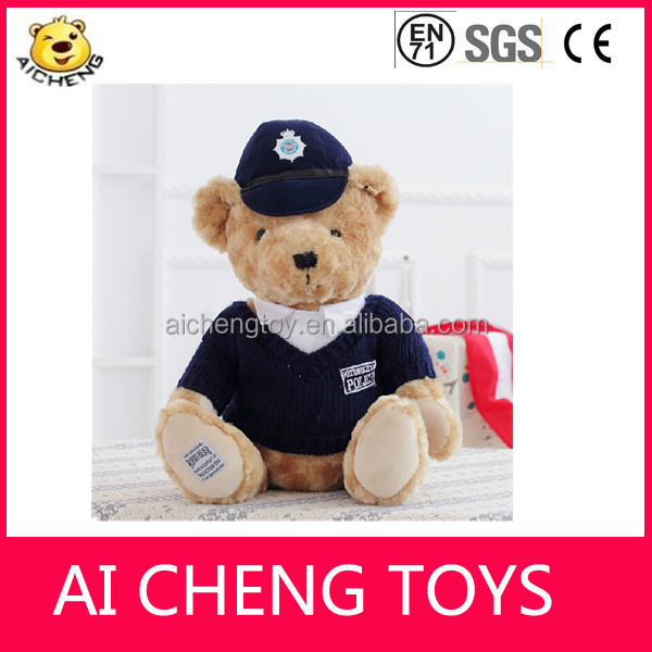 OEM plush police man teddy bear with knitted clothing and hat