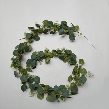 2019 new releases Christmas garland silver dollar eucalyptus garland with babysbreath 1.9m 6FT 148 pcs artificial leaves