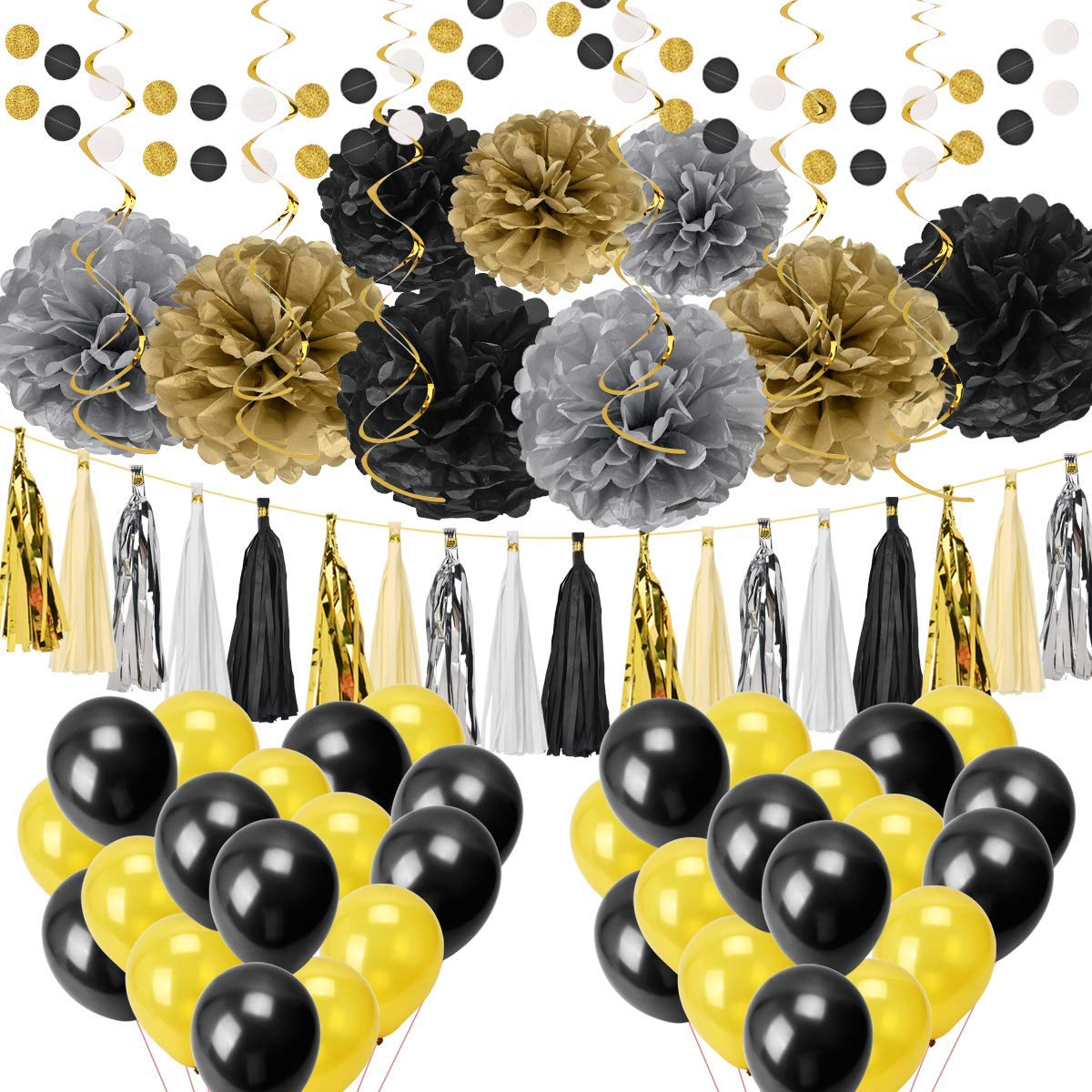 Artoper 62 pcs Party Decoration Set - Party Supplier Set of Balloons, Pom Poms Flowers, Paper Garland, Tassels, Hanging Swirl Perfect for Boy Birthday, Baby Shower, Silver Gold Black
