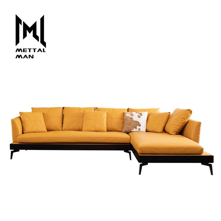 Grey Retro Leather Furniture L Shape Sofa Set Living Room Lounge
