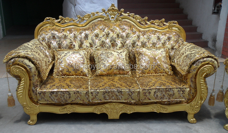 Royal Living Room Sofa Furniture Golden Dubai Sofa Design