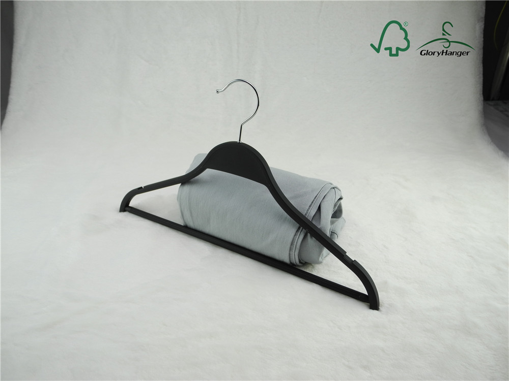 Black laminated wood suit hanger with pant bar