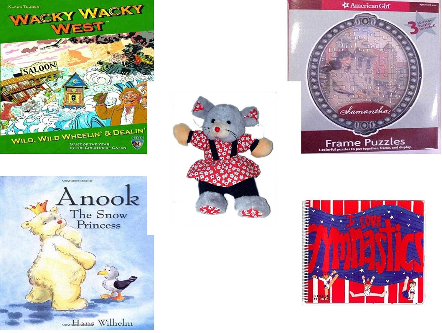 """Girl's Gift Bundle - Ages 6-12 [5 Piece] - Wacky Wacky West Game - American Girl Frame Puzzles Samantha. - Play-By-Play Red Flower Patterned Girl Mouse Plush 11"""" - Anook: The Snow Princess Hardcover"""