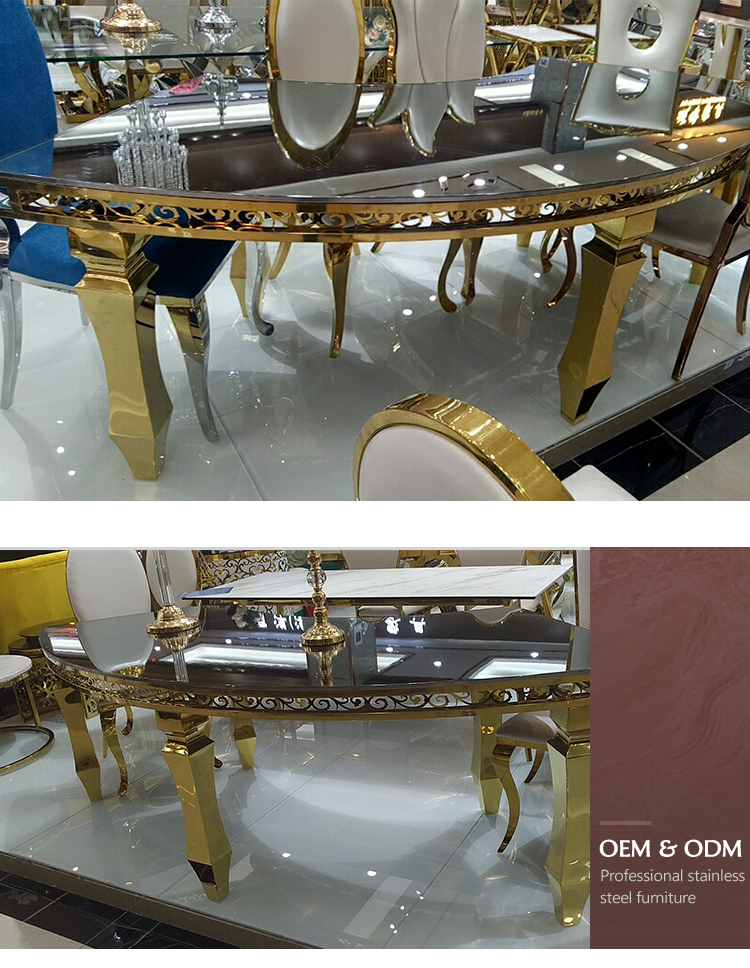 gold stainless steel mirrored furniture circle wedding table wholesale hotel banquet stainless steel metal quarter wedding table