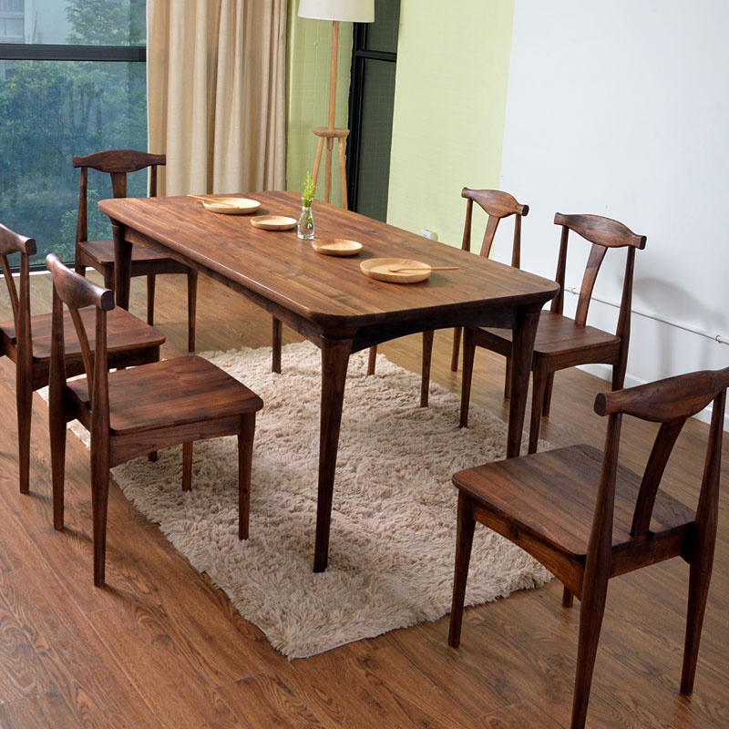 All Wood Dining Room Chairs: All Solid Wood Dining Table Dinette Combination Ash