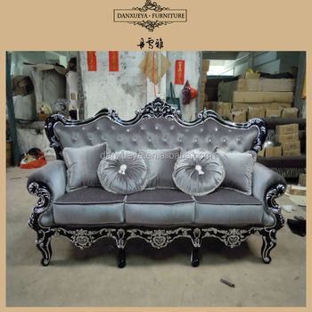 European Classic Wooden Craved Sofa Set Black With Silver Sofa 836#