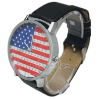 alibaba hot sale 4 colors unisex fashion leather USA flag watch