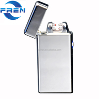 Fr-609 Electronic USB Rechargeable Flameless Windproof Dual Arc Automatic Metal Cigarettes Lighter No Butane